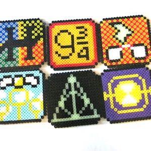 Perler Beads set of 6 Harry Potter Coasters